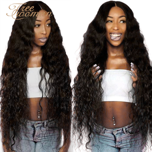 FREEWOMAN 42inch Synthetic Lace front Wigs Long Deep Wave Ombre Wigs For Black Women Kanekalon Cosplay Wig Fake Hair Black Brown(China)