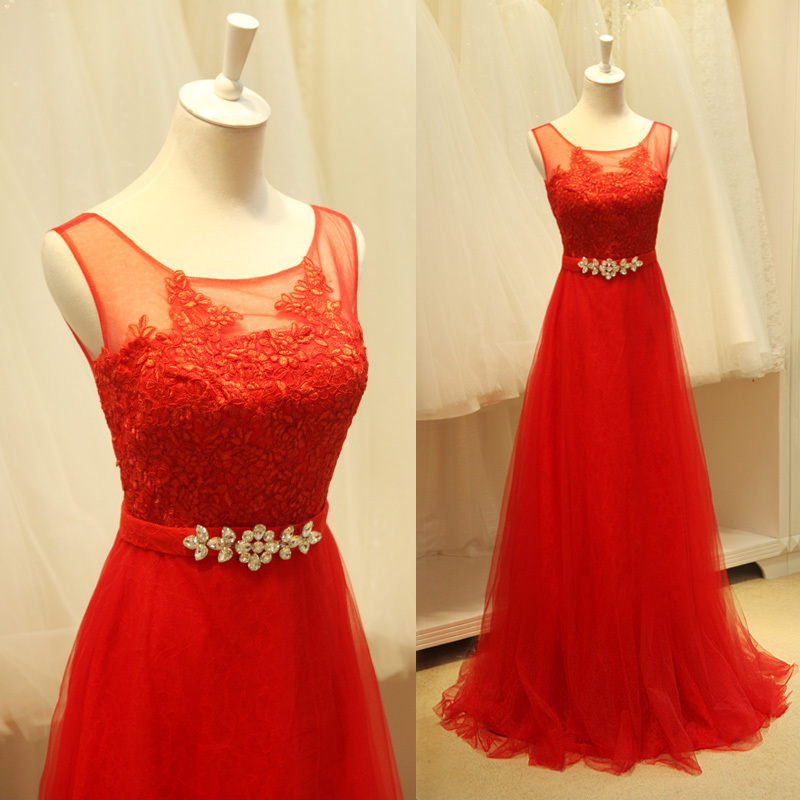 Women Custom Lace Party Prom Gown 2018 New Style Sexy Free Shipping Crystal Belt Vestido De Festa Red Long Bridesmaid Dresses