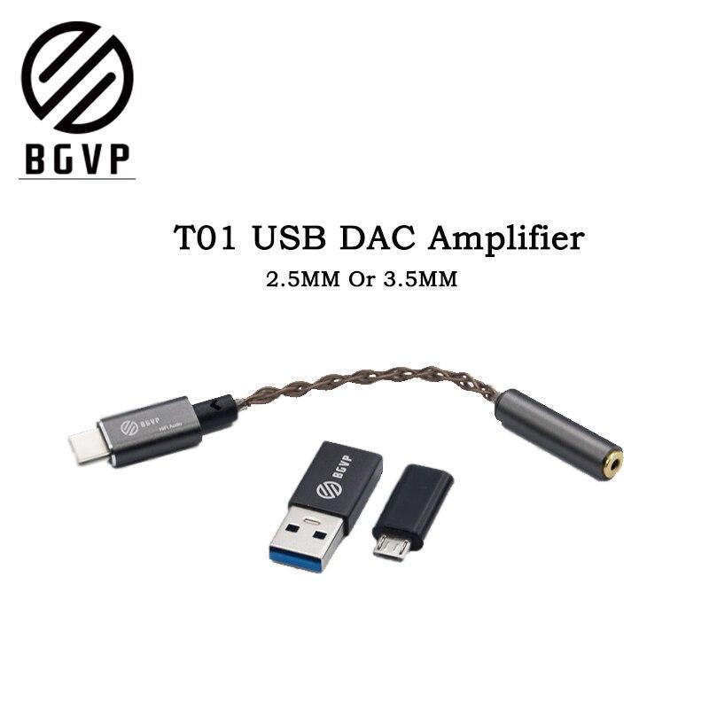BGVP T01 DAC USB amplificador Audio de alta fidelidad, tipo micro USB con adaptateur Compatible con el teléfono celular PC W