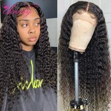 Ueenly peruca cabelo encaracolado, 4x4 de fechamento, ondulada, brasileira, profunda, corte pixie, com cabelo novo perucas de cabelo humano pré selecionado