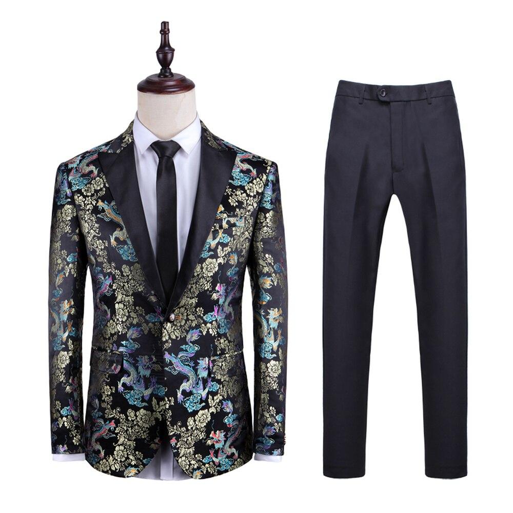 Men Blazer Fashion Dragon Pattern High Quality Slim Jacket+Pant Wedding Groom Singer Host Stage Costume Party Prom 2 Pieces Set