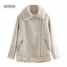 Wixra Womens Casual Suede Faux Rabbit Fur Coat Ladies Zipper Outwear Jacket Street Style Stylish Warm Overcoat Autumn Winter