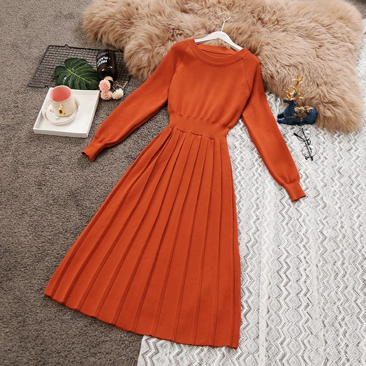 Fall New Women Lantern Sleeve Sweater Dress Draped Waist Fold Vintage Knit Dress O Neck Pleated Dresses in Dresses from Women 39 s Clothing