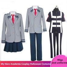 Boku nenhum herói academia asuitsuyu yaoyorozu momo escola uniforme definir meu herói academia midoriya izuku cosplay peruca e adesivo