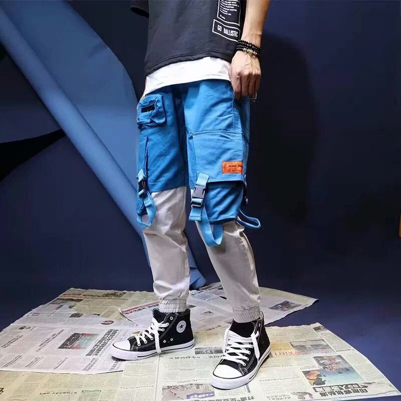 Cargo Pants Men Loose Hip hop Streetwear Joggers Korean Pocket Patchwork Harem Pants Ankle length Trousers Techwear