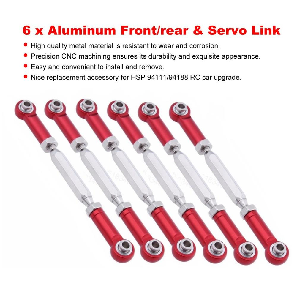 6Pcs 88mm Aluminium Steering Linkage Rod Turnbuckle for RC 1//10 1//8 Redcat HSP