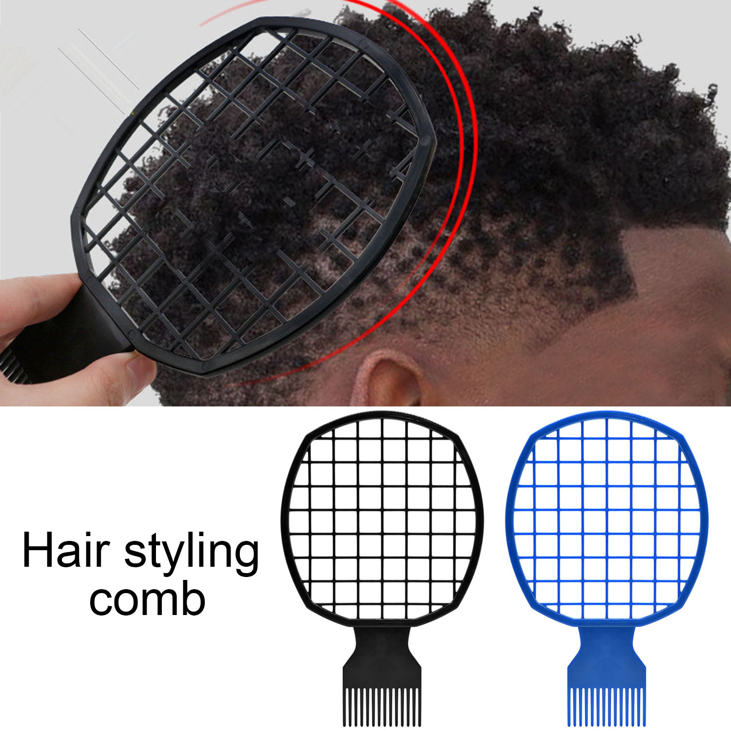 Portable 2 In 1 Afro Twist Wave Curl Hair Brush Comb For Natural Twists Curls Coils Dreads Hair Styling Tool