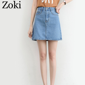 Image 5 - Zoki Sexy Women Denim Mini Skirt Fashion Summer High Waist Korean Black Skirt Blue Package Hip Jeans Harajuku Plus Size Cotton