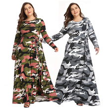 2019 New Camouflage Dress European and American Large Size Autumn Winter Long Women