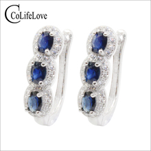 100% Natural Sapphire Silver Hoop Earrings 6 Pcs Light Blue Sapphire Silver Earrings 925 Silver Sapphire Jewelry for Wedding