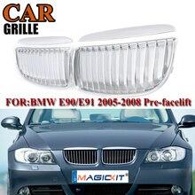 MagicKit Car Front Grille Kidnery Grills for BMW 3-Series E90 Sedan E91 Wagon 320i-335i 2005-2008 Facelift Imitation Chrome Silv стоимость