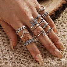 LETAPI 12 unids/set Punk Vintage anillo de Color plateado para mujer Retro alas triángulo Luna geométrico corazón hoja anillo en forma de V conjunto