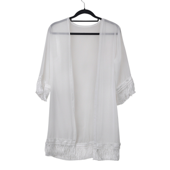 Popular Women Tassels Beach Long Shirt Dress Lace Chiffon Beach Cover Ups Bathing Sunscreen Cardigan Clothes 1
