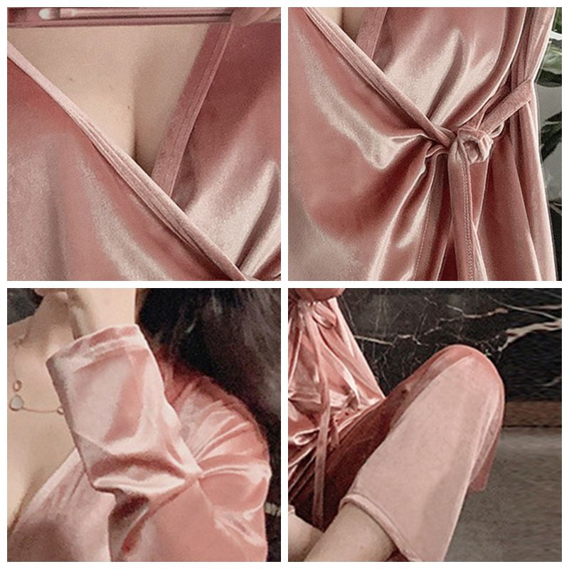 JULY'S SONG Fashion Velvet Pajamas 2 Pieces Set Woman Deep V-neck Casual Sexy Slim Spring Autumn Pajamas Long Sleeves Sleepwear