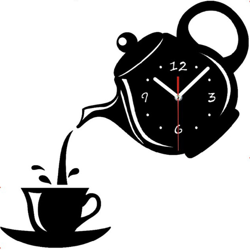 Wall-Clock Decorative Teapot Coffee-Cup Dining-Room Acrylic Kitchen 3D DIY title=