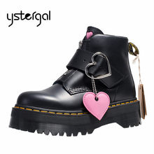 Ystergal Cute Loving Heart Design Women Ankle Boots Platform Shoes Woman Punk Botas Mujer Flat Rubber Shoes Short Booties(China)