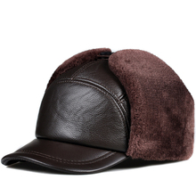 Winter Men 100 Genuine Leather Faux Fur Hat Male Warm Tag Thick Velvet Bomber Hats Elderly Earflap Moto Windproof Snow Caps cheap Recurfs Youni Adult RY9130 Solid Polyester dome hat genuine cowhide cold winter none 57-61 cm fitted black brown