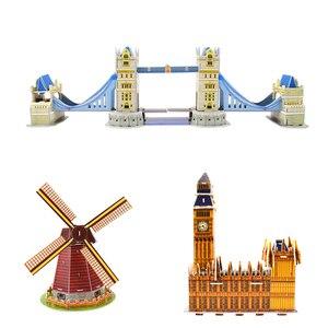 Image 5 - Karton bina modeli 3D oyuncaklar bulmacalar çocuklar için DIY dünyaca ünlü kule köprüsü beyaz ev yap boz eğitici oyuncaklar hediyeler