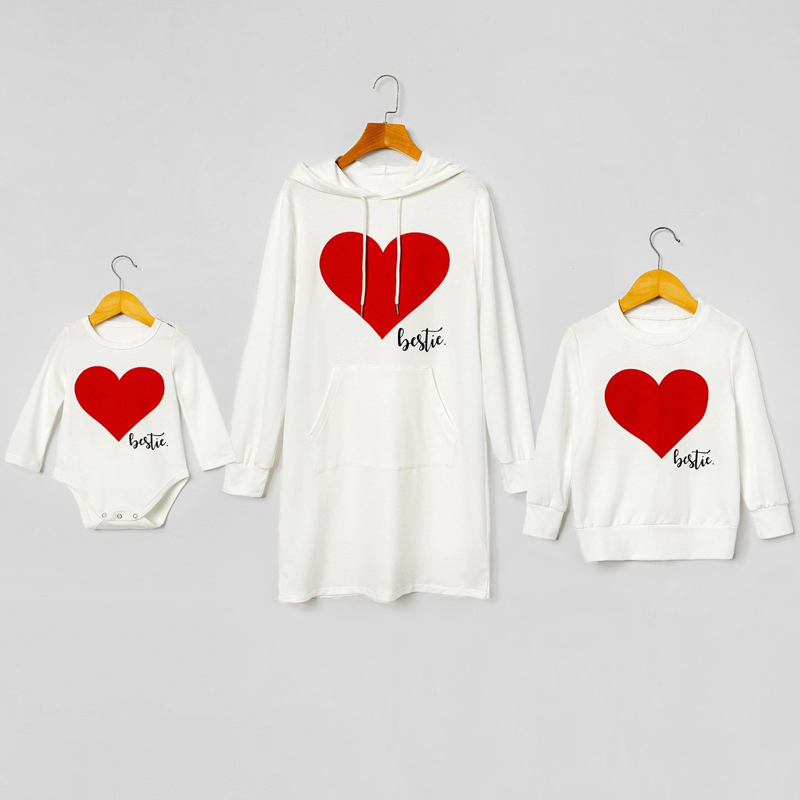 Famille coeur amour pyjamas sweat hiver mode famille coeur imprimer à manches longues Parent enfant costume décontracté haut vêtements hiver