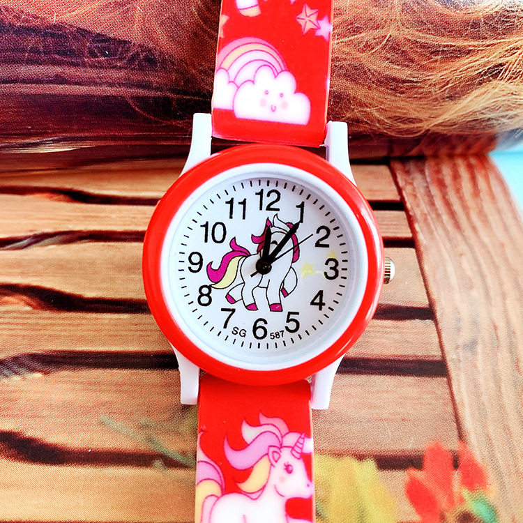 The New Popular Unicorn Silicone Printed Quartz Watch For Children Girl Primary School Casual Wrist Watch