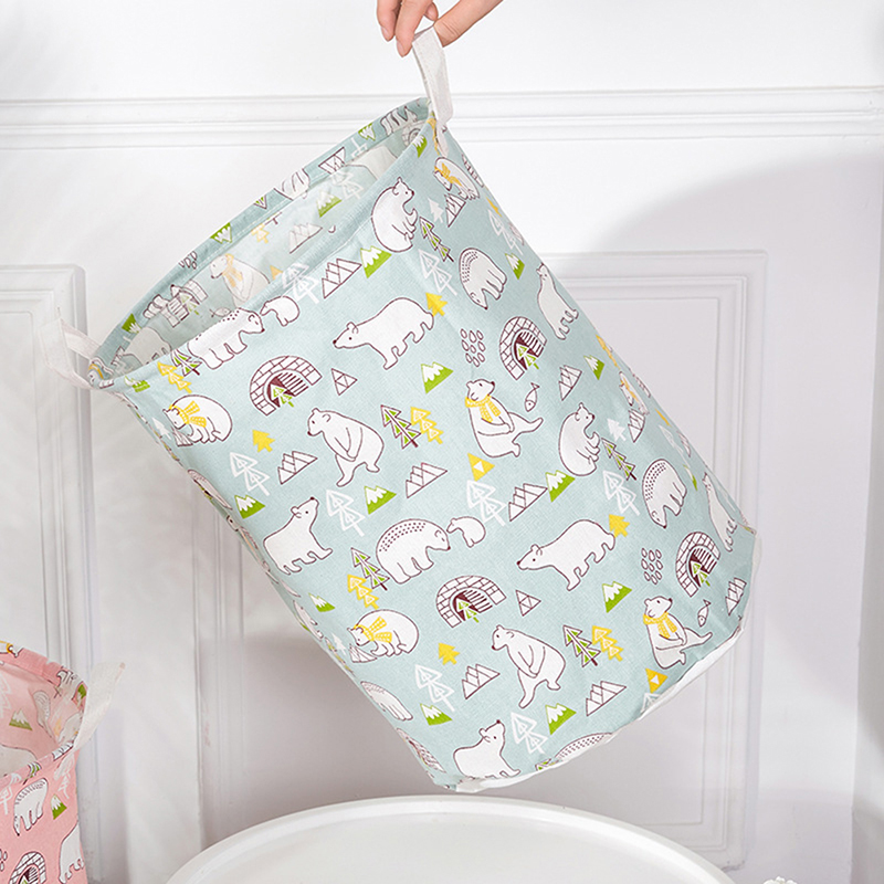 Folding Laundry Hamper Home Toy Storage Bucket Waterproof Fabric Storage Bin With Handles
