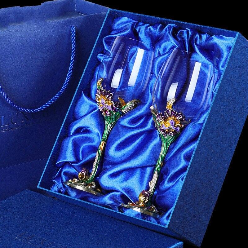 2pcs Gift Box Enamel Wine Glass Goblet Glass Crystal Glass Set High-end Wine Glass Wine Glass Champagne Glass Wine Glass