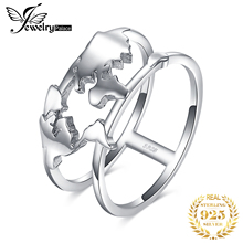 JewelryPalace World Map Rings 925 Sterling Silver for Women Statement Stackable Ring Band Jewelry Fine