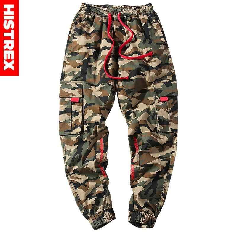 HISTREX 100 algodón camuflaje Harem hombres pantalones de chándal de motocicleta ropa 3XL 4XL Hip Hop bolsillos laterales TrousersPopular 5JUA0 #