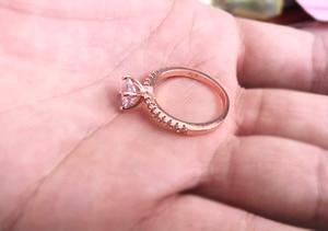Розовое золото цвет лаборатория кольцо с бриллиантом для женщин роскошный аниллос Свадьба Bizuteria модные ювелирные изделия драгоценный каме...