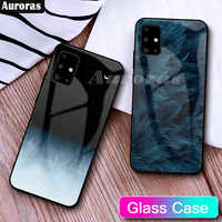 Auroras For Samsung Galaxy A51 Case Tempered Glass Starry Sky Design Shockproof Cover For Samsung A71 A51 A515 A715 Case