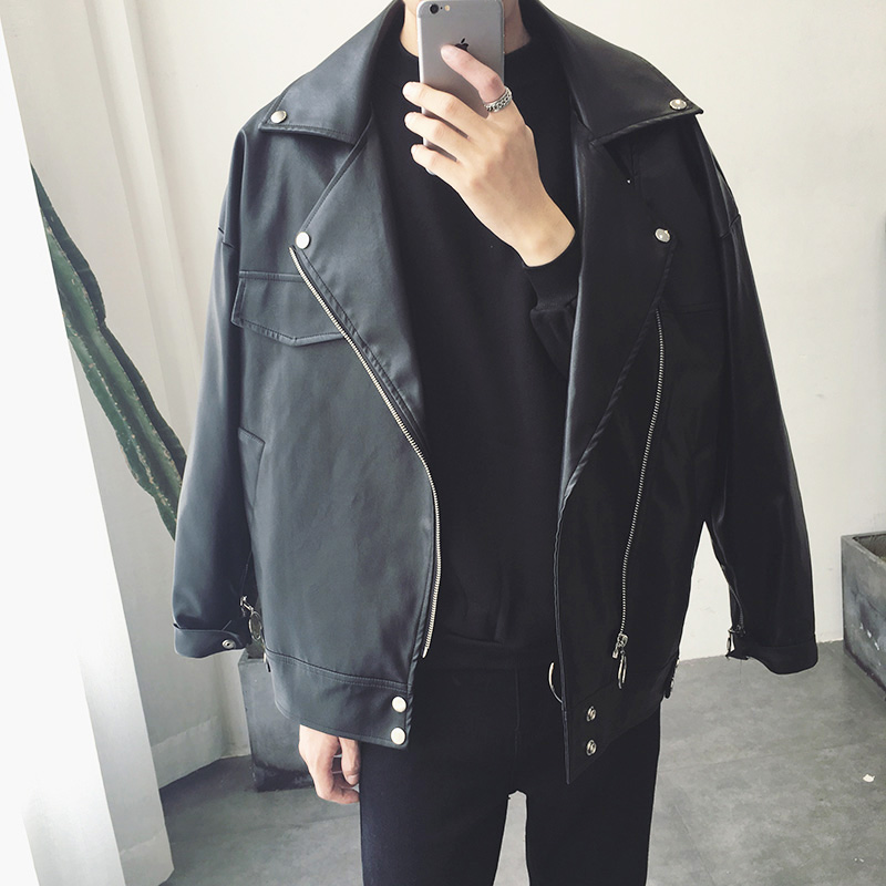 2019 Top Fashion PU Men Leather Jacket Moto Biker Streetwear Oversize Faux Fur Coat Men