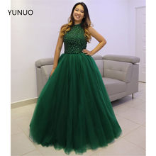 YUNUO Vestido De Festa Green Long Prom Quinceanera Dresses Ball Gown Elegant Halter Beading Evening Party Gowns платье вечернее(China)