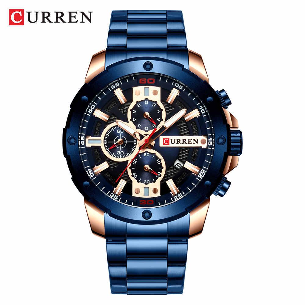 CURREN Jam Tangan Pria Stainless Steel Band Kuarsa Jam Tangan Military Chronograph Jam Fashion Pria Sporty Watch Tahan Air 8336