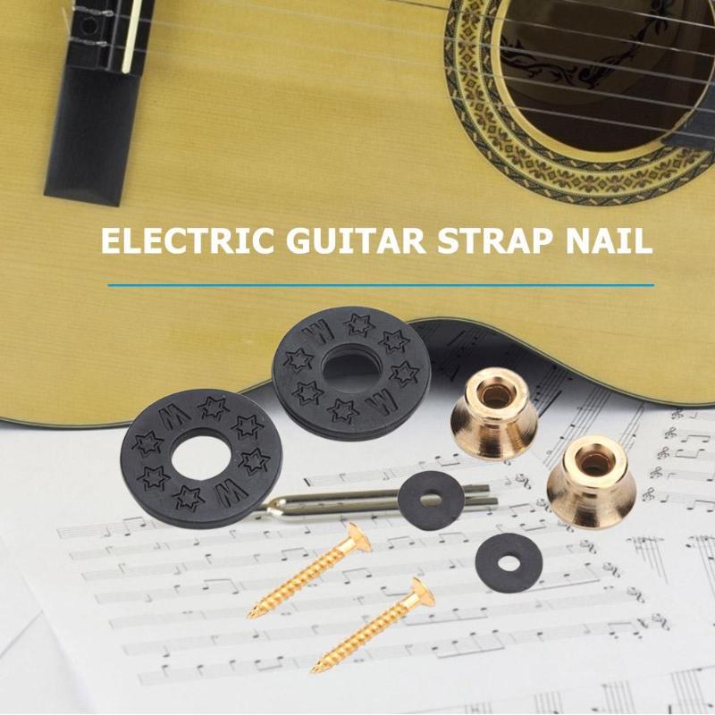 Golden Pack of 6 IKN M/étal Anti-Slip Strap Locks pour guitare /électrique acoustique