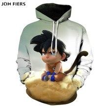 JOH FIERS Anime Dragon Ball Z Pocket Hooded Sweatshirts Kid Goku 3D Hoodies Pullovers Men Women Long Sleeve Outerwear New Hoodie
