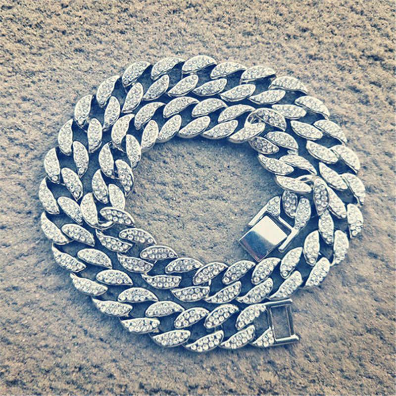 ヒップホップマイアミ縁石アイスアウトキューバチェーンネックレス 15 ミリメートルゴールドシルバー舗装ラインストーン Cz ためのラッパー男性ジュエリー