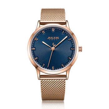Julius Uhr frauen Edelstahl Band Casual Business Uhr Quarz-Uhr Blau Zifferblatt Trendy Stilvolle Top Marke Montre JA-1075