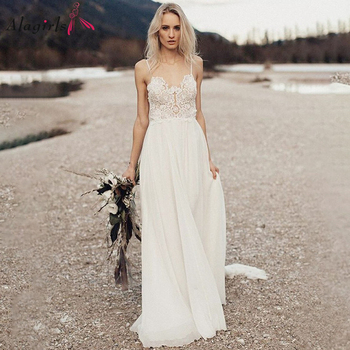 Appliques Backless Wedding Dress Boho Spaghetti Straps Wedding Gowns 2020 Sweetheart Simple Wedding Dress Beach White Gown