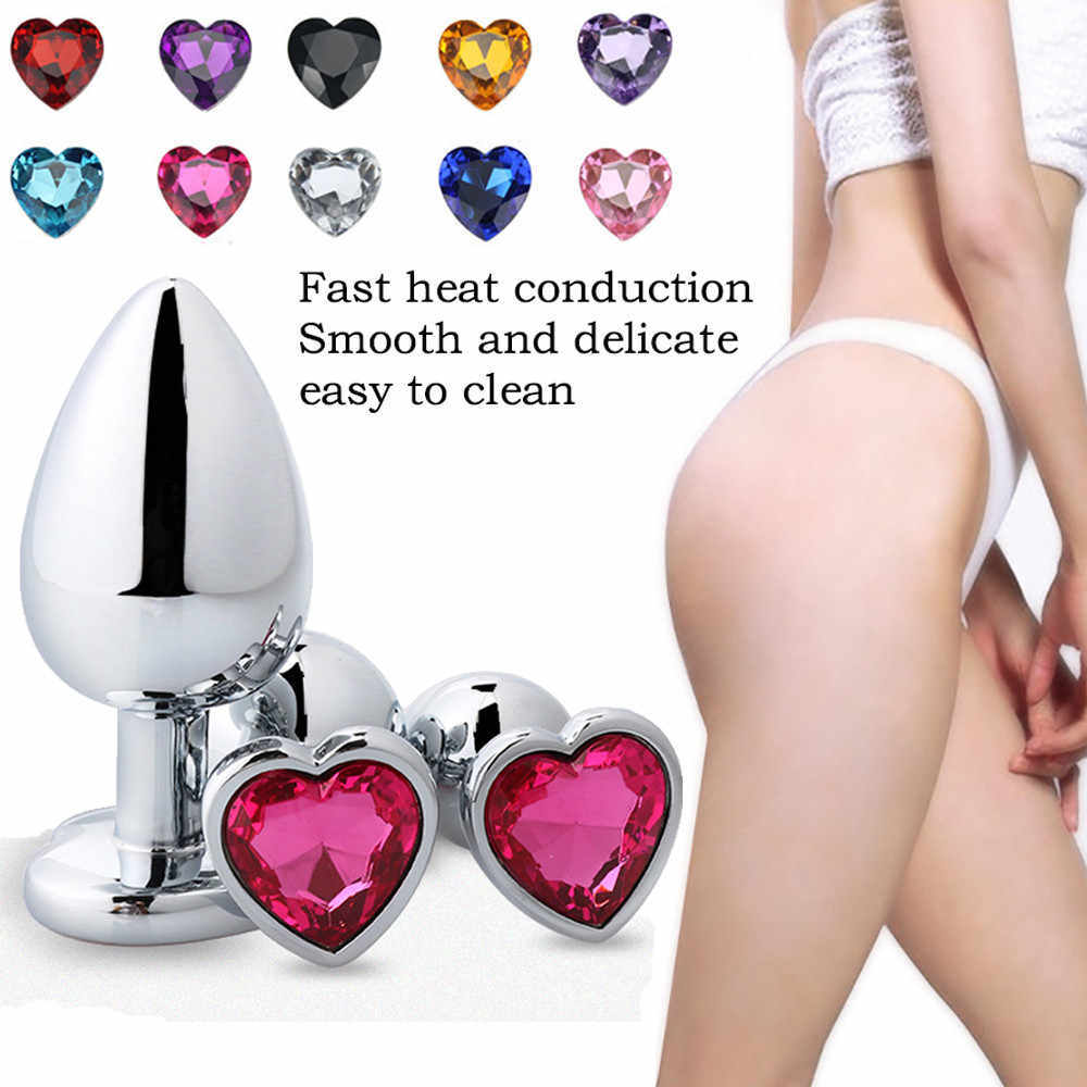 Stainless Steel 3 Pcs Heart Shaped Jewelry Anal Plugs Dildo Vibrator Trainer Toy Butt Plug Adult Sex Toys for Men/Women