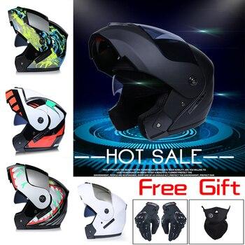 Casco de Motor de lentes 2 regalos casco de seguridad de cara...