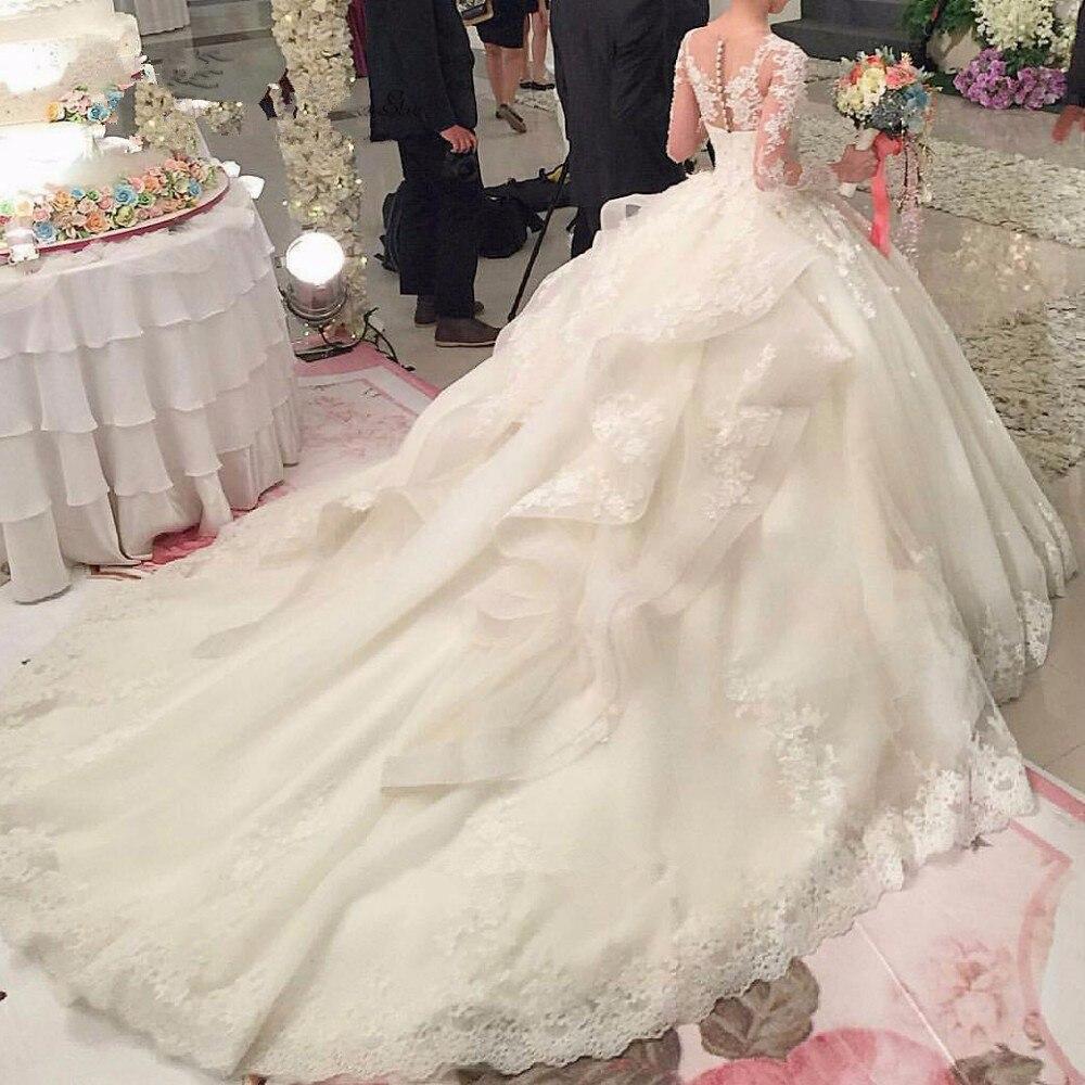Luxury Long Sleeve Lace Flowers Court Train Vestido De Noiva Com Manga Princesa Bridal Gown Vintage Mother Of The Bride Dresses