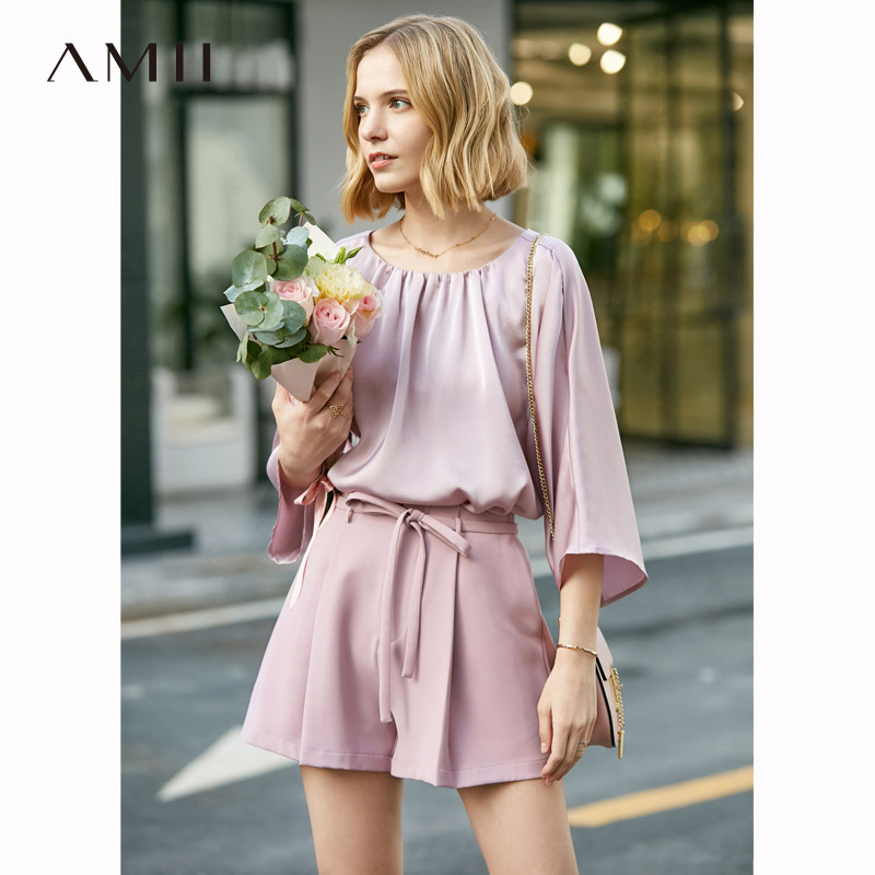 Amii Minimalist Spring Summer Set Women Lady Oneck Pleated Blouse Temperament Hight Waist Loose Shorts 11930112