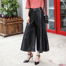High Waist Womens Wide Leg Pants Loose Streetwear Ankle Length Pants Female 2020 New Big Size M-3XL Black Genuine Leather Zipper(China)