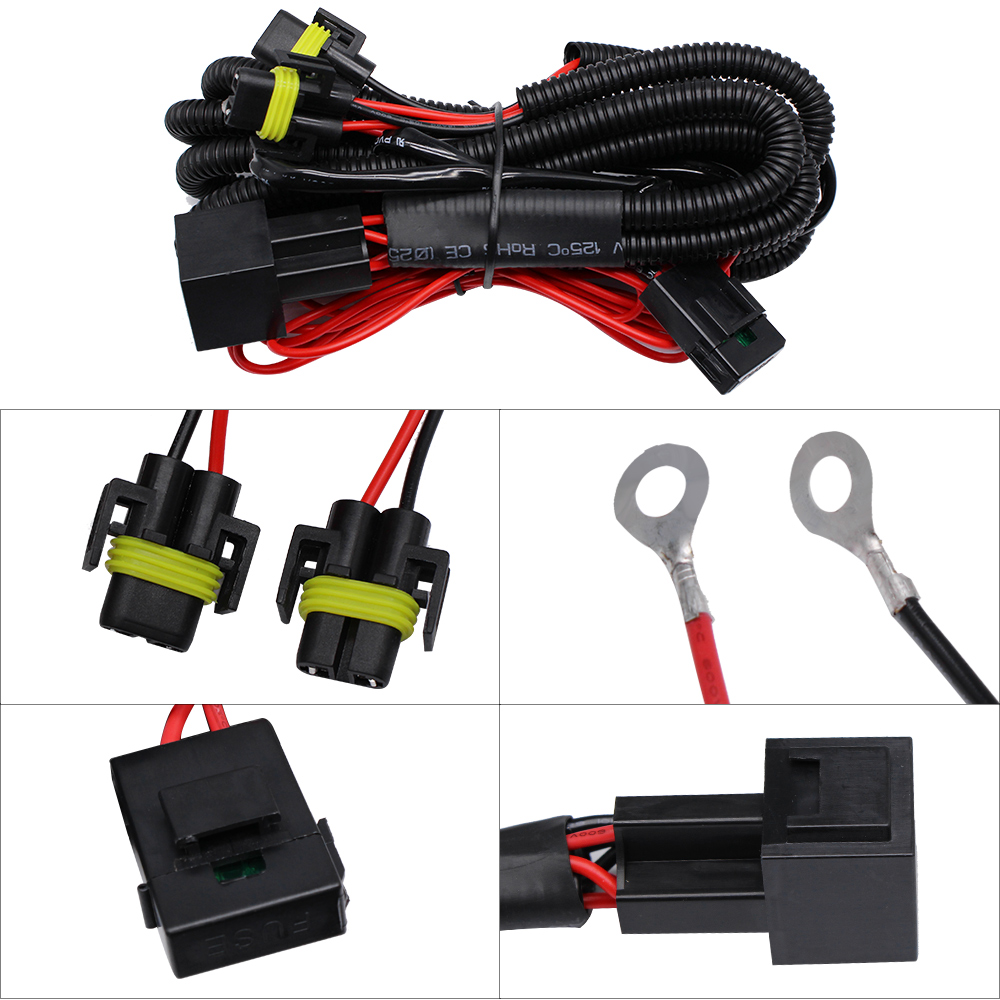 YUNPICAR H11 880 881 H8 Universal 40A Relay Wiring Harness Kit Fits LED Automotive Fog Light Conversion Assemblies
