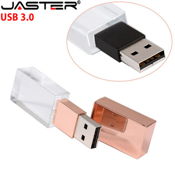 JASTER Crystal USB 3.0 Flash Starter USB Pen Drive 4GB 16GB 32GB 64GB128gb USB Flash Drive 3D Engraving Logo/Car Gift