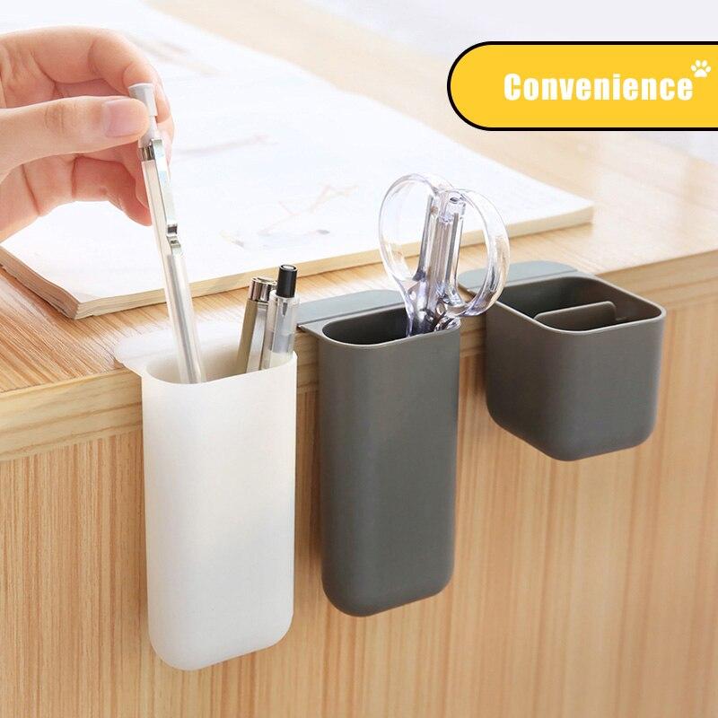 JIANWU Simple Creativity Paste Pen Container Desktop Hangable Pen Box Cute Pencil Organizer Kawaii School Supplies