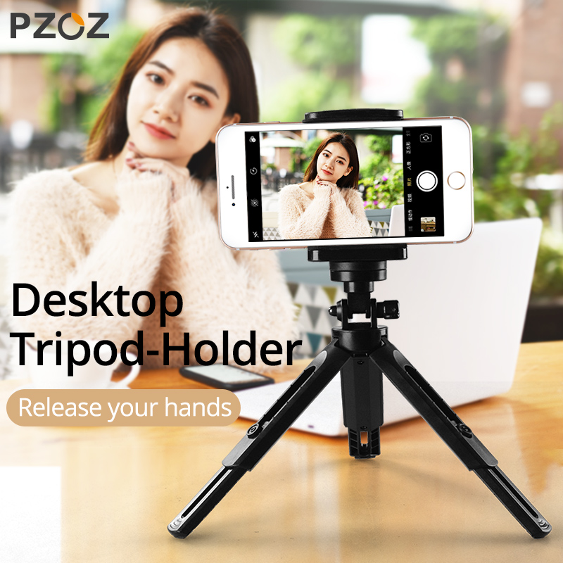 PZOZ Desk Tripod Holder For IPhone Samsung Xiaomi Camera Tripod Mobile Phone Holder Clip Stick Stand Smartphone Universal Holder