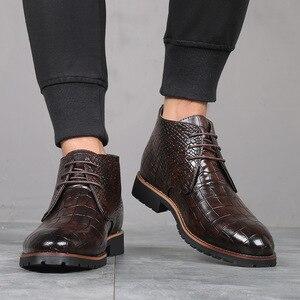 Image 4 - Homens botas de couro grande Size38 48 laço acima botas de cowboy homem sapatos masculinos à prova de água botas novas sapatos de plataforma botines hombre
