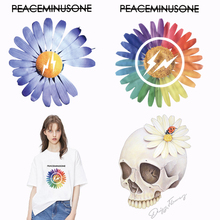 diy fashion daisy skull flower Iron on transfers for clothes T shirt stickers patches on Clothing stripes thermal Applique патчи iron on patches big skull punk heat transfers for clothes stickers military badges diy t shirt applique tops print washable e