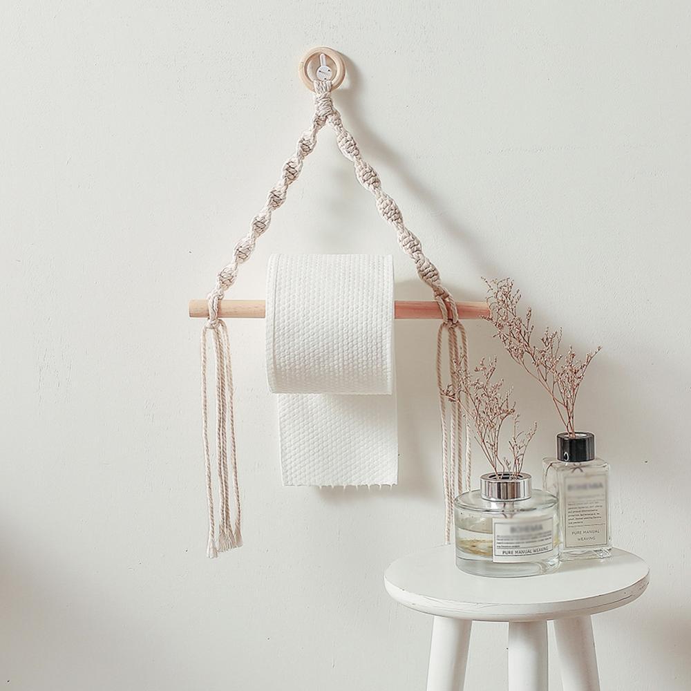 Nordic Style Toilet Paper Holder Tapestry Macrame Wall Hanging Room Decor Bathroom Toilet Paper Dispenser Home Decor